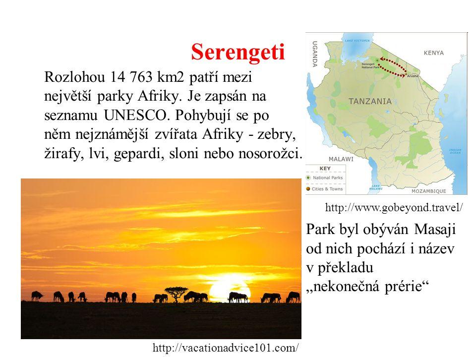 Serengeti Rozlohou 14 763 km2 patří mezi největší parky Afriky. Je zapsán na seznamu UNESCO. Pohybují se po něm nejznámější zvířata Afriky - zebry, ži