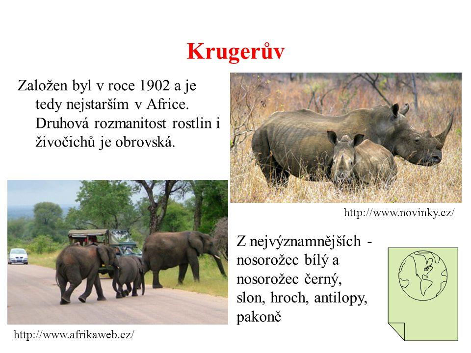 Krugerův Založen byl v roce 1902 a je tedy nejstarším v Africe. Druhová rozmanitost rostlin i živočichů je obrovská. http://www.afrikaweb.cz/ http://w