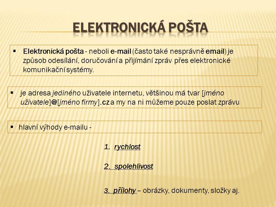  Elektronická pošta - neboli e-mail (často také nesprávně email) je způsob odesílání, doručování a přijímání zpráv přes elektronické komunikační systémy.