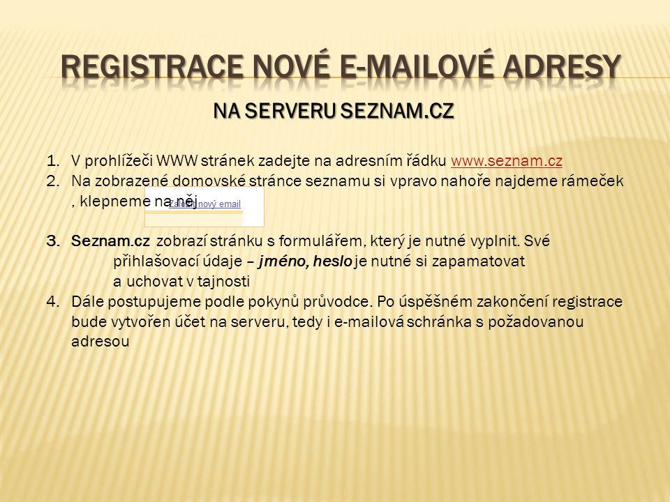 1.V prohlížeči WWW stránek zadejte na adresním řádku www.seznam.czwww.seznam.cz 2.Na zobrazené domovské stránce seznamu si vpravo nahoře najdeme rámeček, klepneme na něj 3.Seznam.cz zobrazí stránku s formulářem, který je nutné vyplnit.