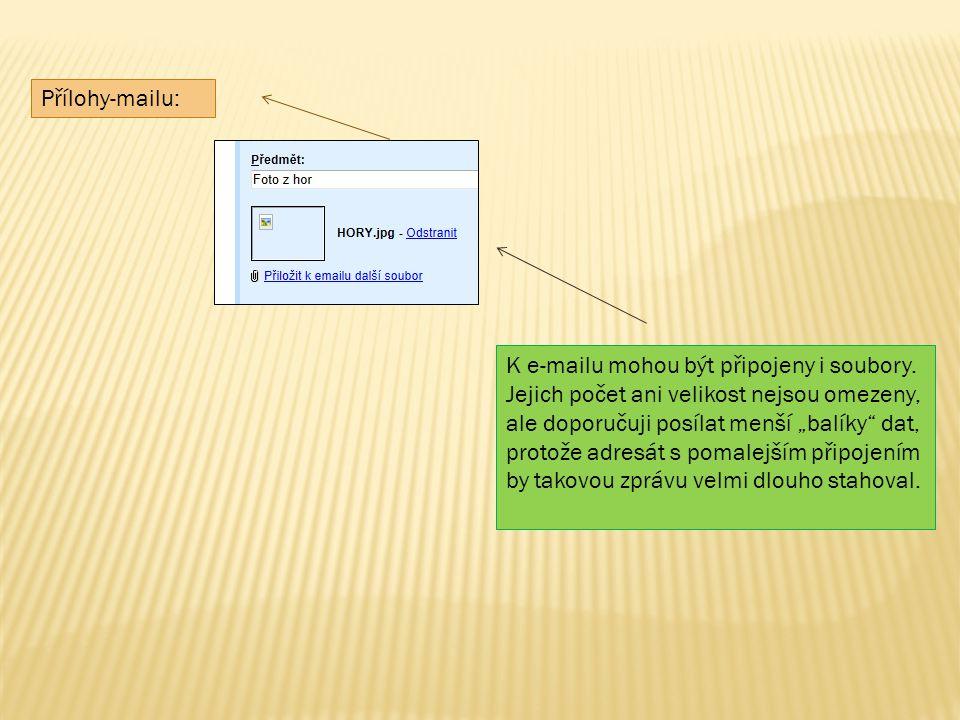 Přílohy-mailu: K e-mailu mohou být připojeny i soubory.