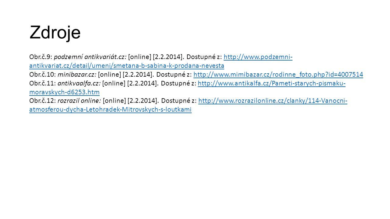 Zdroje Obr.č.9: podzemní antikvariát.cz: [online] [2.2.2014]. Dostupné z: http://www.podzemni- antikvariat.cz/detail/umeni/smetana-b-sabina-k-prodana-