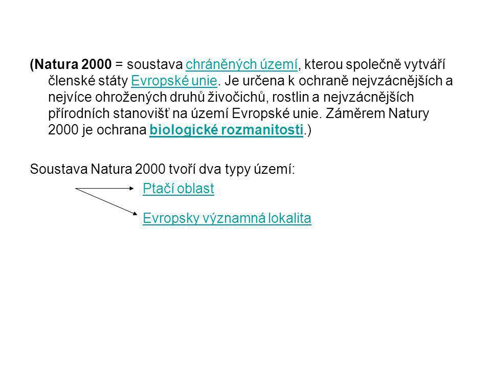(Natura 2000 = soustava chráněných území, kterou společně vytváří členské státy Evropské unie. Je určena k ochraně nejvzácnějších a nejvíce ohrožených