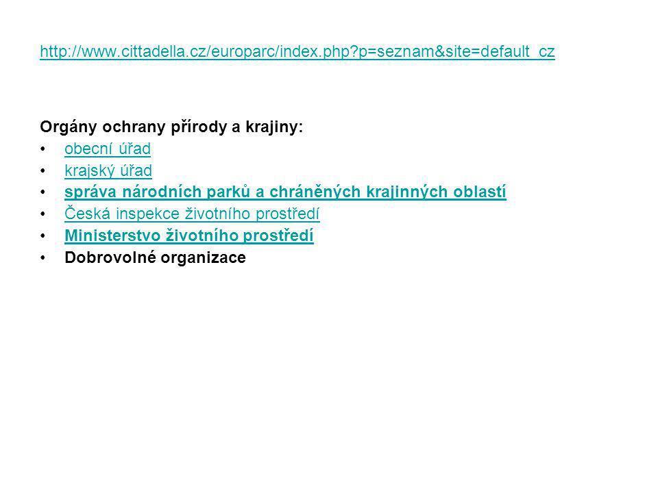 http://www.cittadella.cz/europarc/index.php?p=seznam&site=default_cz Orgány ochrany přírody a krajiny: obecní úřad krajský úřad správa národních parků a chráněných krajinných oblastí Česká inspekce životního prostředí Ministerstvo životního prostředí Dobrovolné organizace