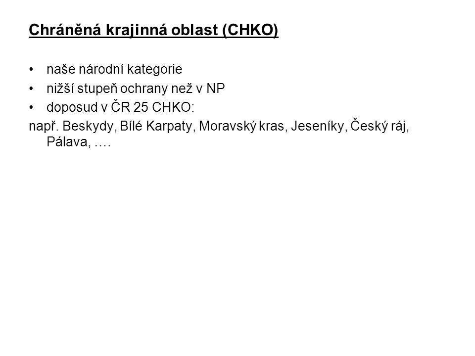 Chráněná krajinná oblast (CHKO) naše národní kategorie nižší stupeň ochrany než v NP doposud v ČR 25 CHKO: např. Beskydy, Bílé Karpaty, Moravský kras,