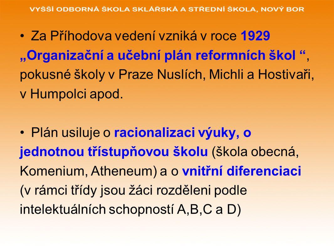 """Za Příhodova vedení vzniká v roce 1929 """"Organizační a učební plán reformních škol """", pokusné školy v Praze Nuslích, Michli a Hostivaři, v Humpolci apo"""