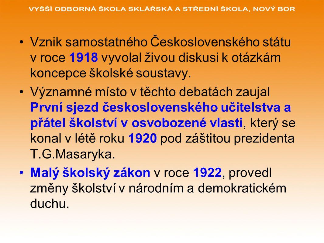Vznik samostatného Československého státu v roce 1918 vyvolal živou diskusi k otázkám koncepce školské soustavy. Významné místo v těchto debatách zauj