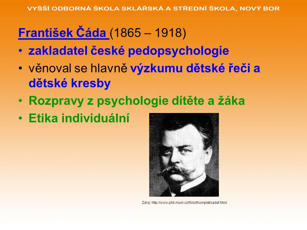 František Čáda (1865 – 1918) zakladatel české pedopsychologie věnoval se hlavně výzkumu dětské řeči a dětské kresby Rozpravy z psychologie dítěte a žá