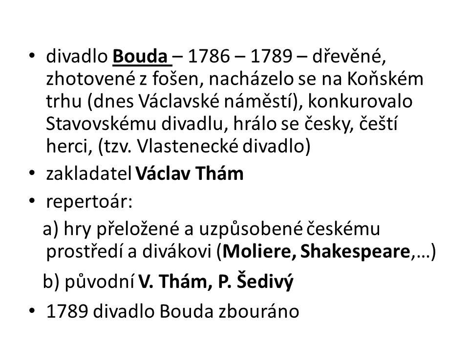 divadlo Bouda – 1786 – 1789 – dřevěné, zhotovené z fošen, nacházelo se na Koňském trhu (dnes Václavské náměstí), konkurovalo Stavovskému divadlu, hrál