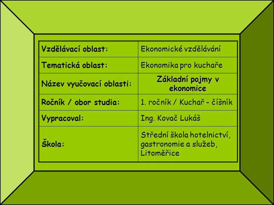 Vzdělávací oblast:Ekonomické vzdělávání Tematická oblast:Ekonomika pro kuchaře Název vyučovací oblasti: Základní pojmy v ekonomice Ročník / obor studi