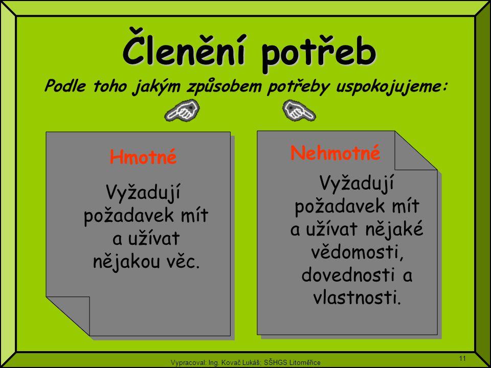 Vypracoval: Ing. Kovač Lukáš; SŠHGS Litoměřice 11 Členění potřeb Vyžadují požadavek mít a užívat nějakou věc. Vyžadují požadavek mít a užívat nějakou