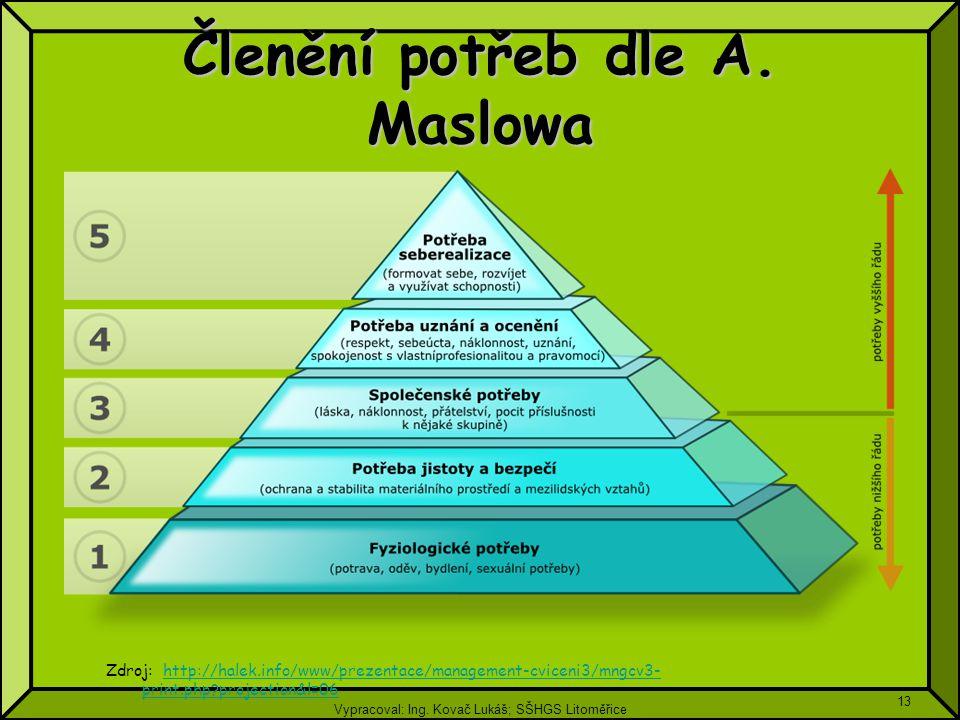 Vypracoval: Ing. Kovač Lukáš; SŠHGS Litoměřice 13 Členění potřeb dle A. Maslowa Zdroj: http://halek.info/www/prezentace/management-cviceni3/mngcv3- pr