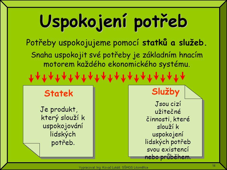 Vypracoval: Ing. Kovač Lukáš; SŠHGS Litoměřice 14 Uspokojení potřeb Potřeby uspokojujeme pomocí statků a služeb. Snaha uspokojit své potřeby je základ