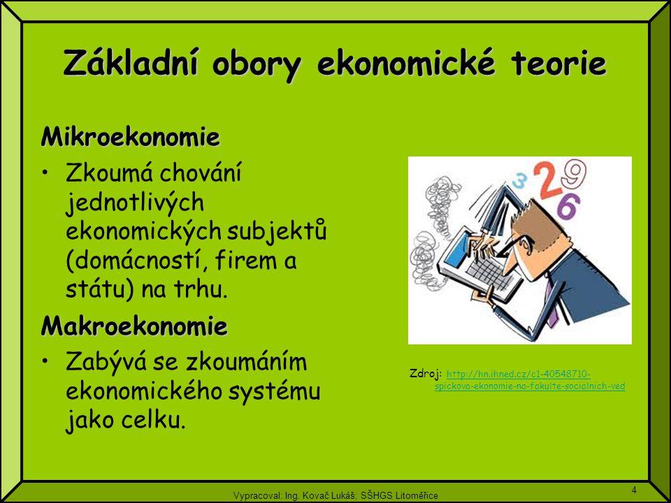 Vypracoval: Ing. Kovač Lukáš; SŠHGS Litoměřice 4 Základní obory ekonomické teorie Mikroekonomie Zkoumá chování jednotlivých ekonomických subjektů (dom