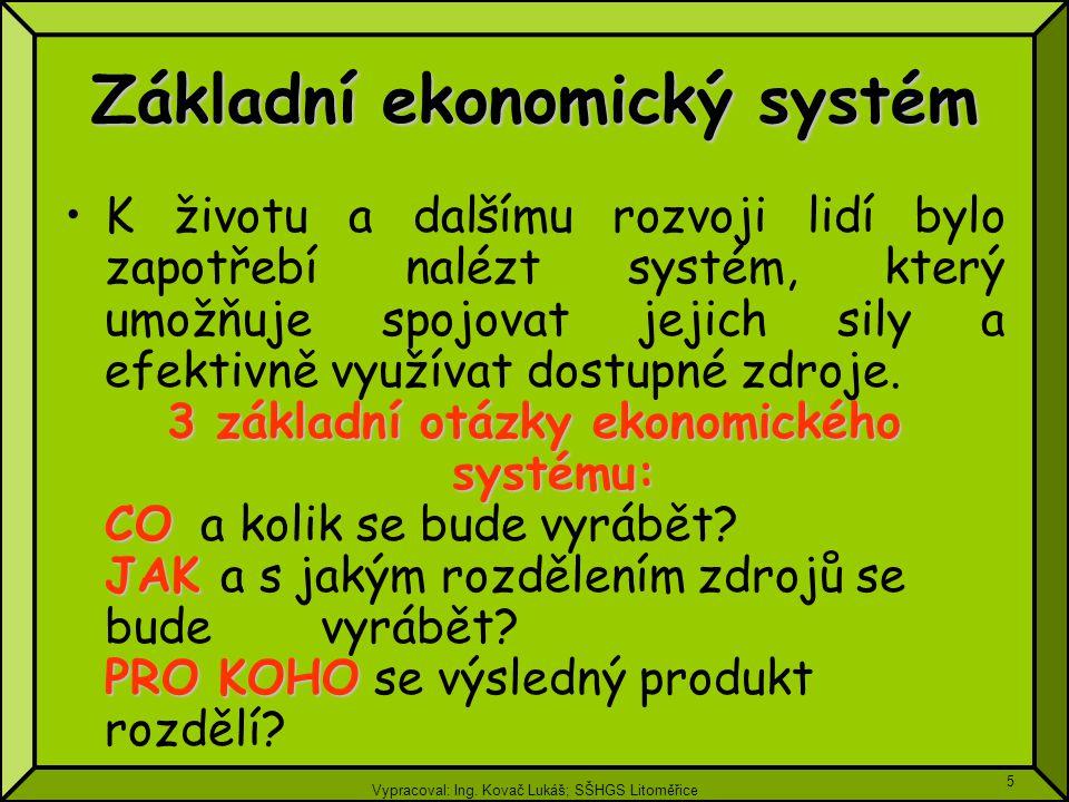Vypracoval: Ing. Kovač Lukáš; SŠHGS Litoměřice 5 Základní ekonomický systém K životu a dalšímu rozvoji lidí bylo zapotřebí nalézt systém, který umožňu