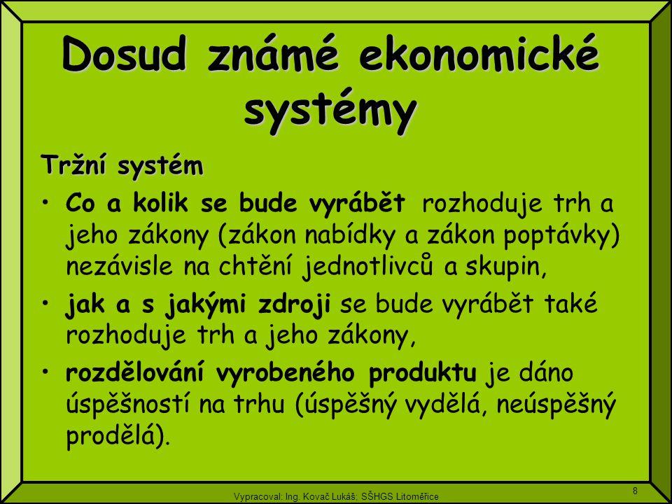 Vypracoval: Ing. Kovač Lukáš; SŠHGS Litoměřice 8 Tržní systém Co a kolik se bude vyrábět rozhoduje trh a jeho zákony (zákon nabídky a zákon poptávky)