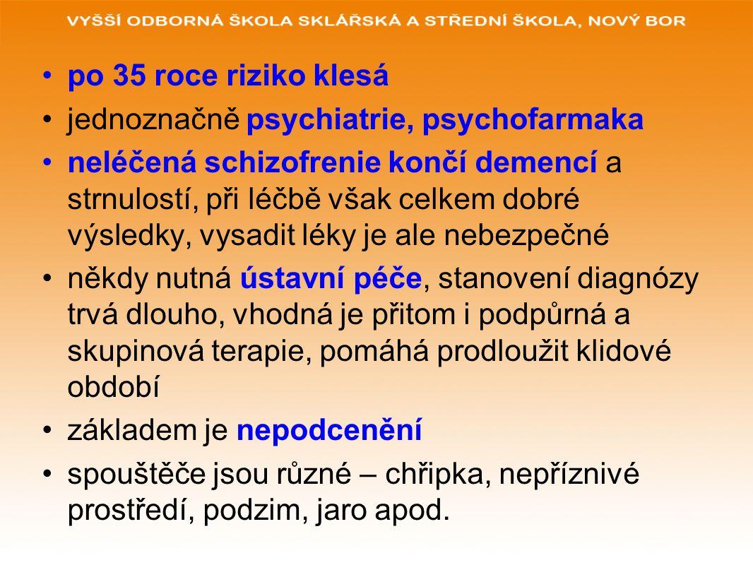 po 35 roce riziko klesá jednoznačně psychiatrie, psychofarmaka neléčená schizofrenie končí demencí a strnulostí, při léčbě však celkem dobré výsledky, vysadit léky je ale nebezpečné někdy nutná ústavní péče, stanovení diagnózy trvá dlouho, vhodná je přitom i podpůrná a skupinová terapie, pomáhá prodloužit klidové období základem je nepodcenění spouštěče jsou různé – chřipka, nepříznivé prostředí, podzim, jaro apod.