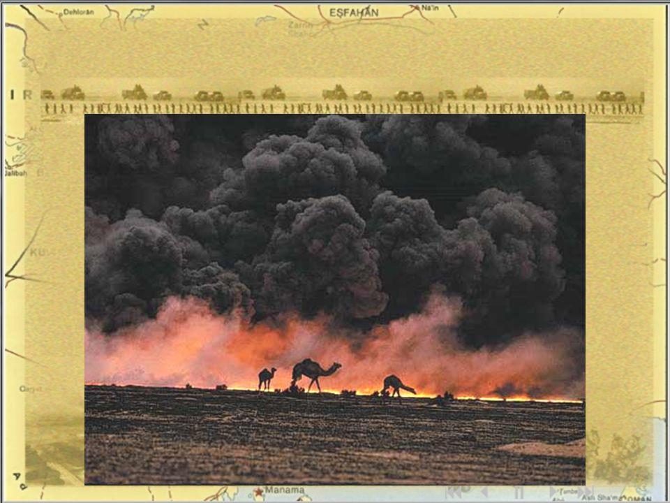 28. února 1991 - Kuvajt osvobozen, Husajn nucen ukončit válku a přijmout rezoluce OSN- na ústupu z Kuvajtu zapálili naftová pole