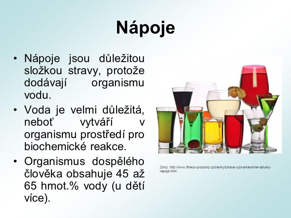 Nápoje Nápoje jsou důležitou složkou stravy, protože dodávají organismu vodu. Voda je velmi důležitá, neboť vytváří v organismu prostředí pro biochemi