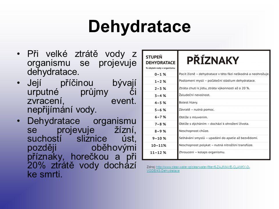 Dehydratace Při velké ztrátě vody z organismu se projevuje dehydratace. Její příčinou bývají urputné průjmy či zvracení, event. nepřijímání vody. Dehy