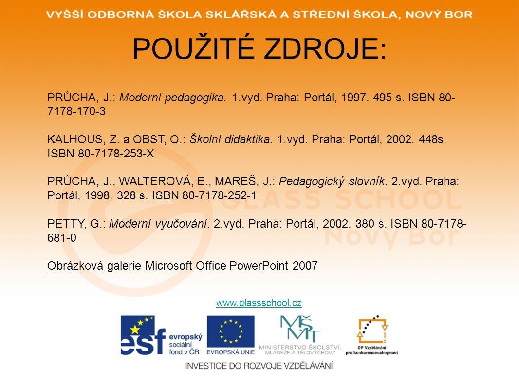 POUŽITÉ ZDROJE: www.glassschool.cz PRŮCHA, J.: Moderní pedagogika. 1.vyd. Praha: Portál, 1997. 495 s. ISBN 80- 7178-170-3 KALHOUS, Z. a OBST, O.: Škol