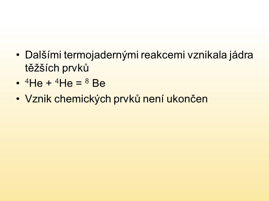 Dalšími termojadernými reakcemi vznikala jádra těžších prvků 4 He + 4 He = 8 Be Vznik chemických prvků není ukončen