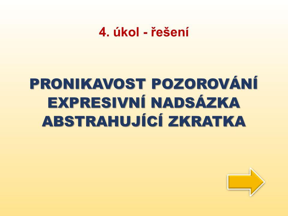 4. úkol - řešení PRONIKAVOST POZOROVÁNÍ EXPRESIVNÍ NADSÁZKA ABSTRAHUJÍCÍ ZKRATKA