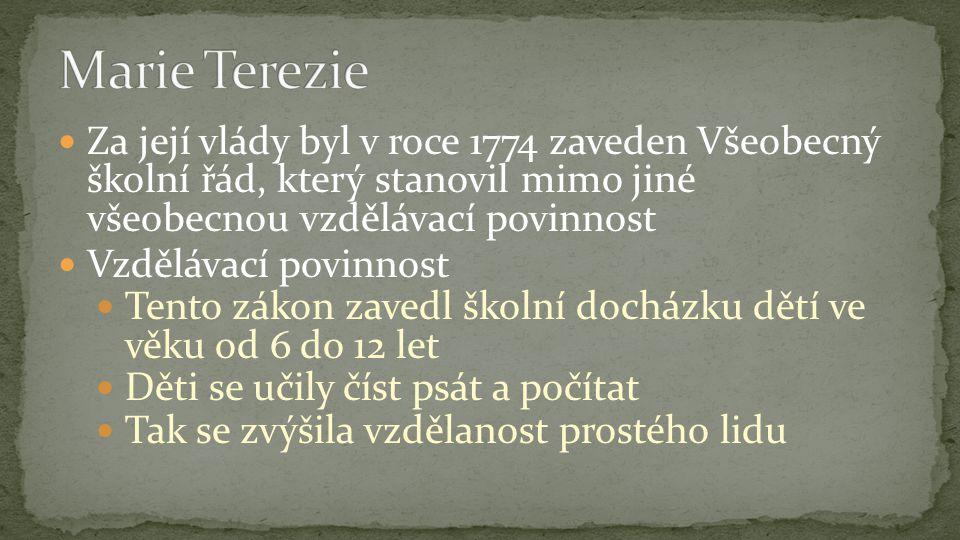 Marie Terezie matka 13 dětí Její syn Josef II.