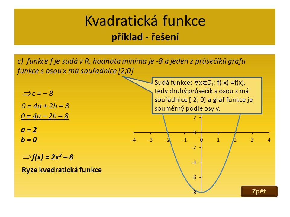 Kvadratická funkce příklad - řešení c) funkce f je sudá v R, hodnota minima je -8 a jeden z průsečíků grafu funkce s osou x má souřadnice [2;0]  c =