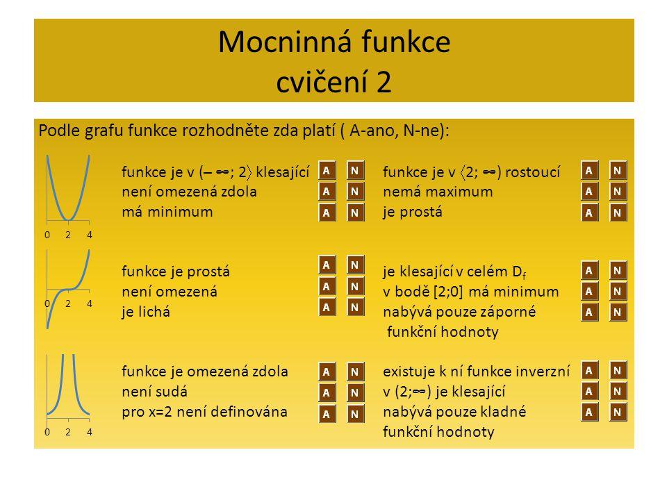 Mocninná funkce cvičení 2 Podle grafu funkce rozhodněte zda platí ( A-ano, N-ne): funkce je v (─ ∞; 2  klesající není omezená zdola má minimum funkce