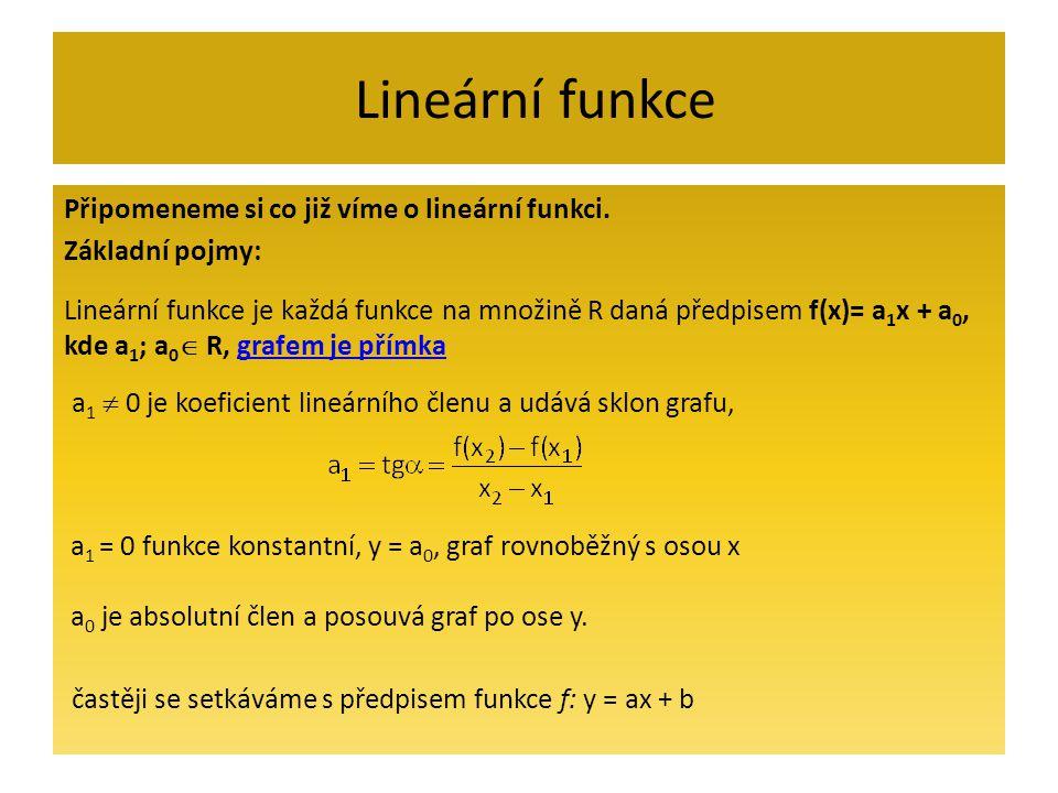 Lineární funkce Připomeneme si co již víme o lineární funkci. Základní pojmy: Lineární funkce je každá funkce na množině R daná předpisem f(x)= a 1 x