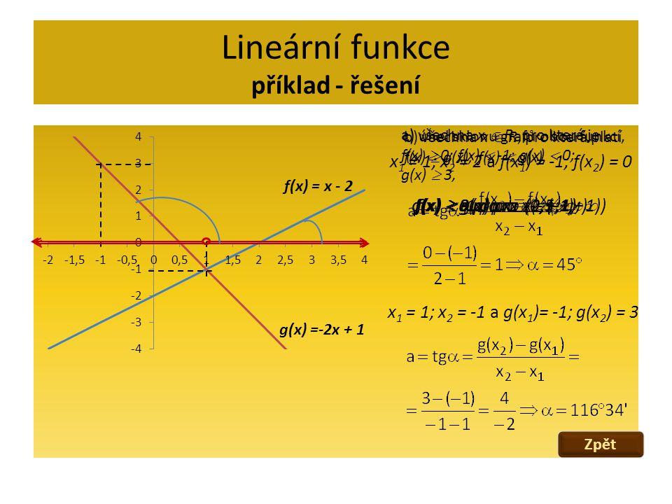 Lineární funkce příklad - řešení f(x) = x - 2 g(x) = -2x + 1 y = x – 2 y = -2x + 1 x = 1 y = -1 [1;-1] Množina kořenů soustavy K={[1;-1]} d) graficky vyřešte soustavu rovnic Zpět Další