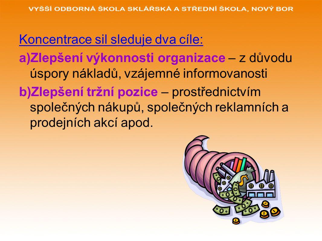 Koncentrace sil sleduje dva cíle: a)Zlepšení výkonnosti organizace – z důvodu úspory nákladů, vzájemné informovanosti b)Zlepšení tržní pozice – prostřednictvím společných nákupů, společných reklamních a prodejních akcí apod.