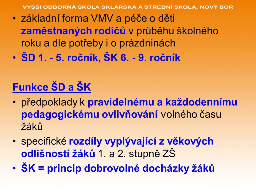 základní forma VMV a péče o děti zaměstnaných rodičů v průběhu školného roku a dle potřeby i o prázdninách ŠD 1.
