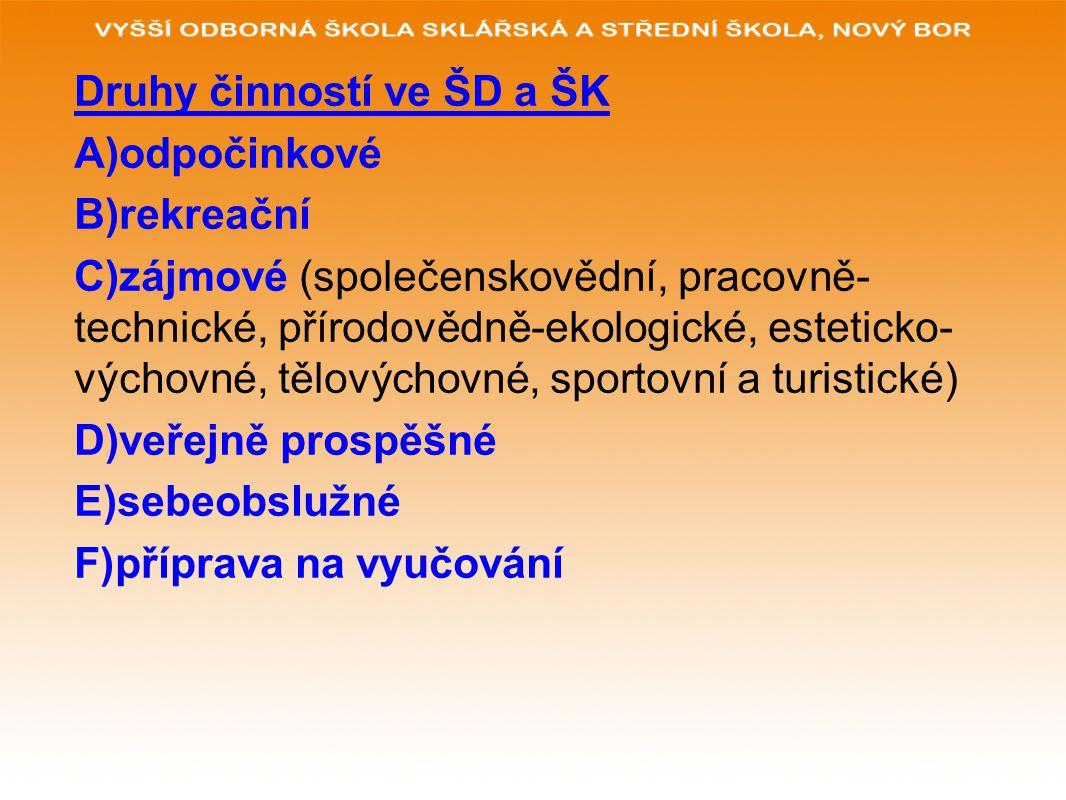 Druhy činností ve ŠD a ŠK A)odpočinkové B)rekreační C)zájmové (společenskovědní, pracovně- technické, přírodovědně-ekologické, esteticko- výchovné, tělovýchovné, sportovní a turistické) D)veřejně prospěšné E)sebeobslužné F)příprava na vyučování