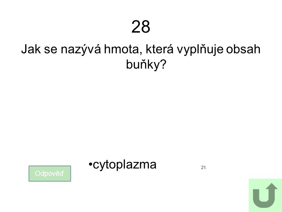 28 Jak se nazývá hmota, která vyplňuje obsah buňky? Odpověď cytoplazma 21.
