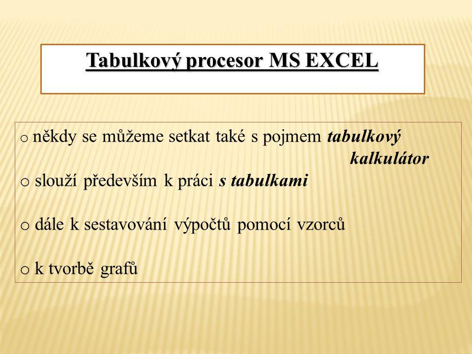 Tabulkový procesor MS EXCEL o někdy se můžeme setkat také s pojmem tabulkový kalkulátor o slouží především k práci s tabulkami o dále k sestavování výpočtů pomocí vzorců o k tvorbě grafů