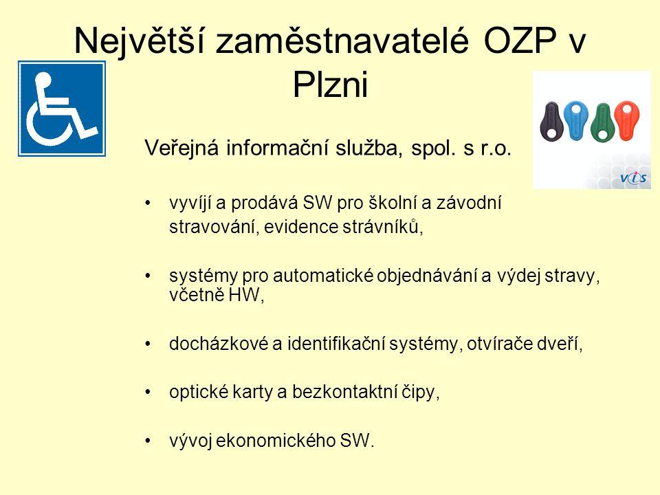 Největší zaměstnavatelé OZP v Plzni Veřejná informační služba, spol.