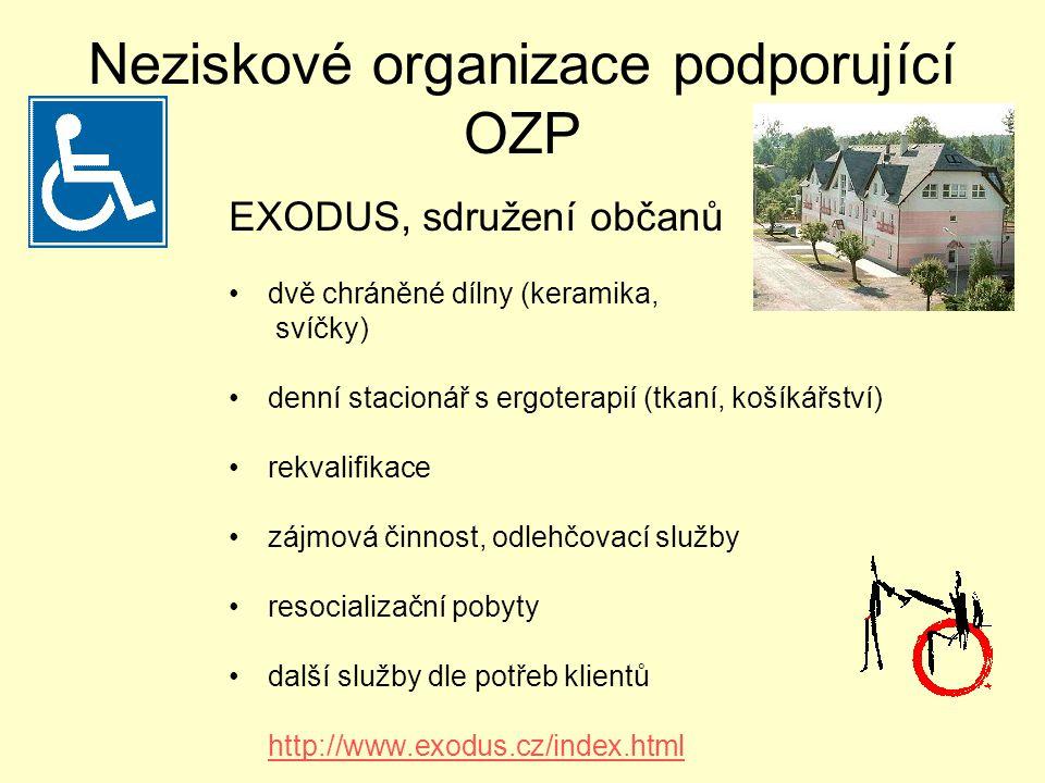 Neziskové organizace podporující OZP dvě chráněné dílny (keramika, svíčky) denní stacionář s ergoterapií (tkaní, košíkářství) rekvalifikace zájmová činnost, odlehčovací služby resocializační pobyty další služby dle potřeb klientů http://www.exodus.cz/index.html EXODUS, sdružení občanů