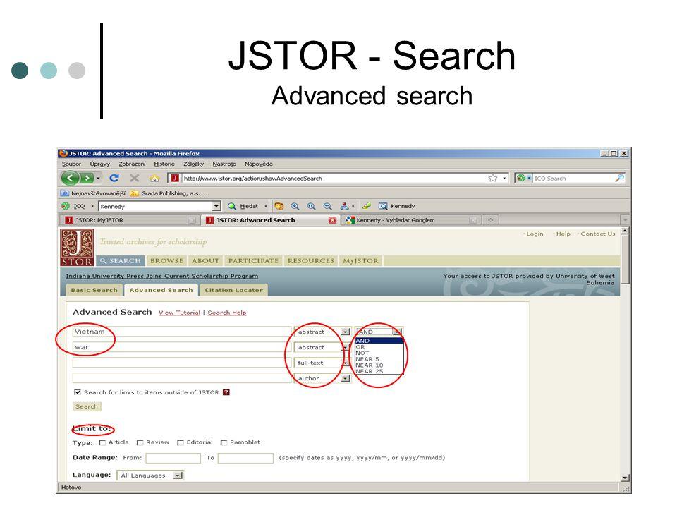 JSTOR - Search Advanced search