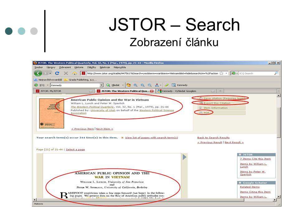 JSTOR – Search Zobrazení článku