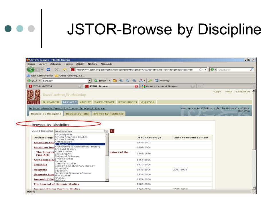 JSTOR-Browse by Discipline