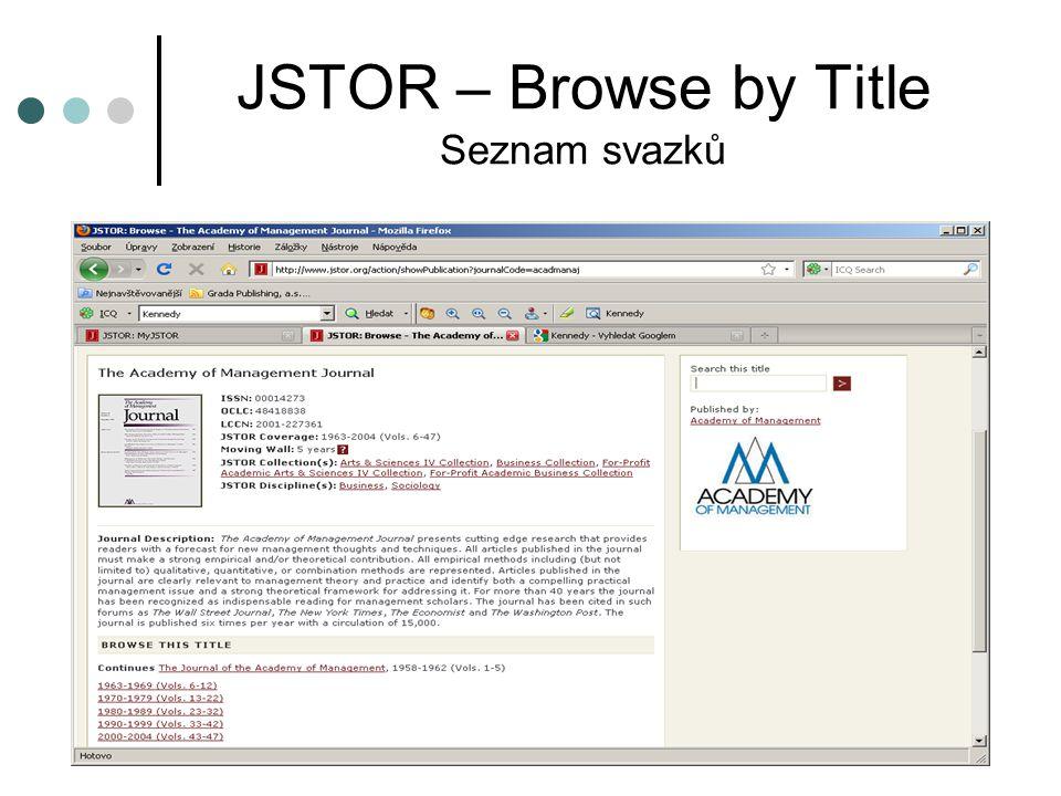 JSTOR – Browse by Title Seznam svazků