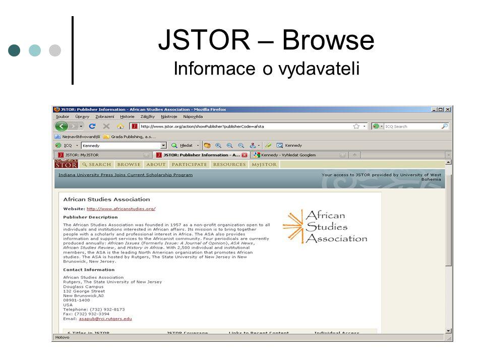 JSTOR – Browse Informace o vydavateli