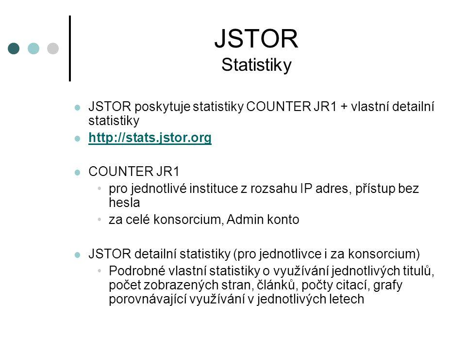 JSTOR Statistiky JSTOR poskytuje statistiky COUNTER JR1 + vlastní detailní statistiky http://stats.jstor.org COUNTER JR1 pro jednotlivé instituce z rozsahu IP adres, přístup bez hesla za celé konsorcium, Admin konto JSTOR detailní statistiky (pro jednotlivce i za konsorcium) Podrobné vlastní statistiky o využívání jednotlivých titulů, počet zobrazených stran, článků, počty citací, grafy porovnávající využívání v jednotlivých letech