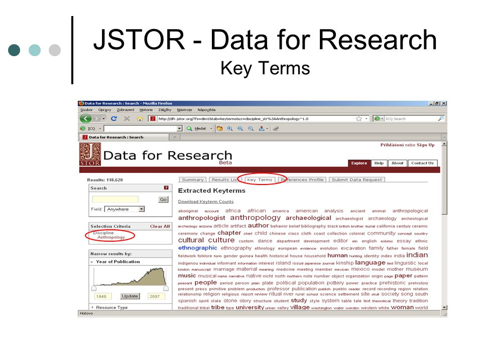 JSTOR - Data for Research Key Terms