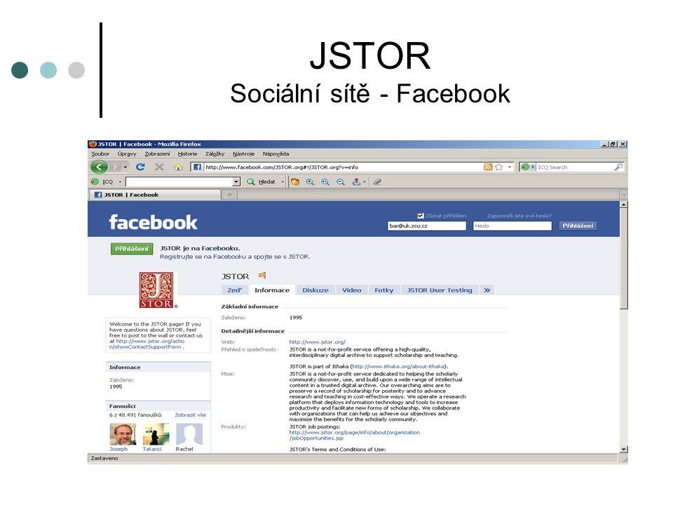 JSTOR Sociální sítě - Facebook