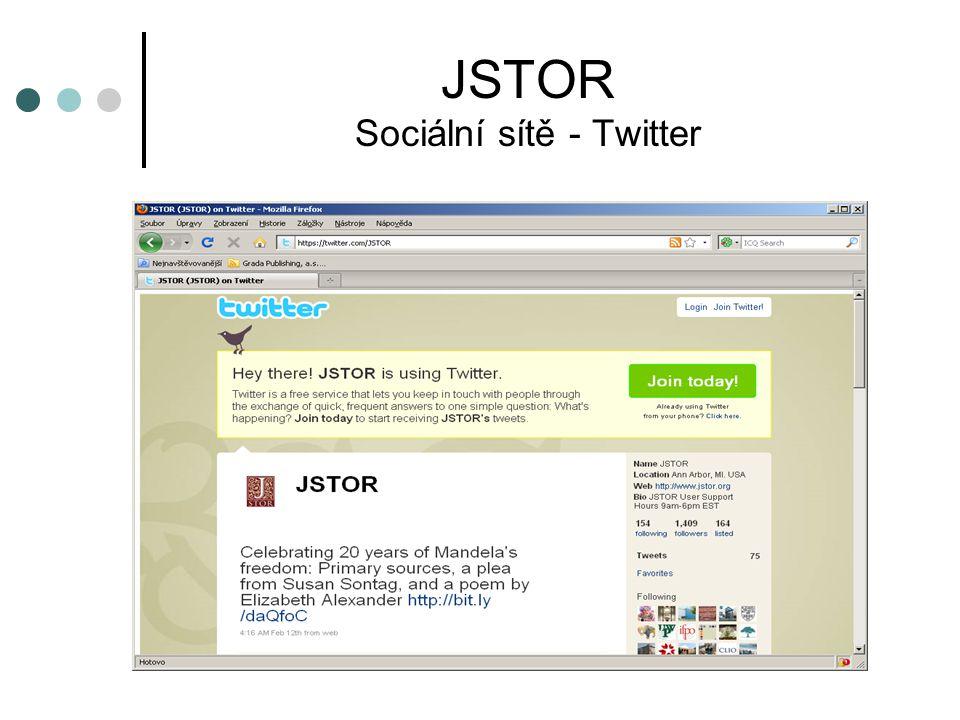 JSTOR Sociální sítě - Twitter