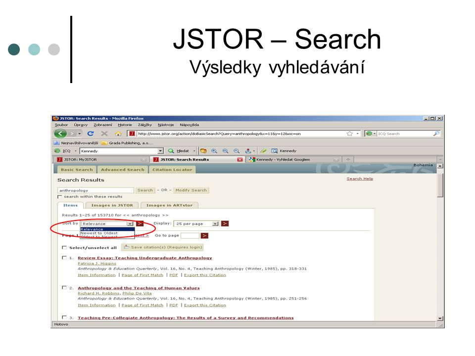 JSTOR - Data for Research Key terms  Results list