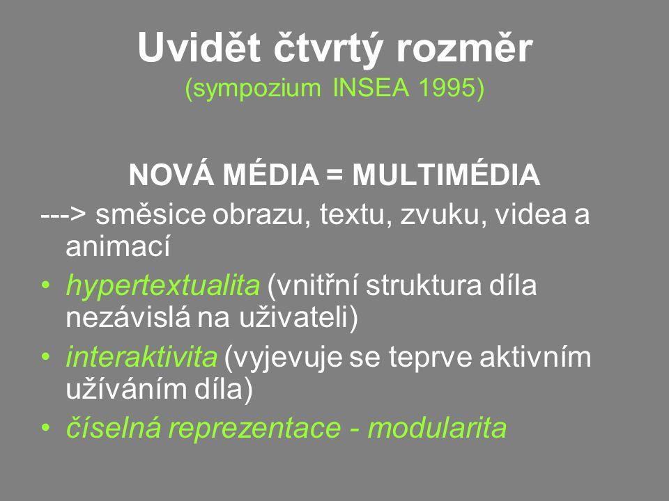 Uvidět čtvrtý rozměr (sympozium INSEA 1995) NOVÁ MÉDIA = MULTIMÉDIA ---> směsice obrazu, textu, zvuku, videa a animací hypertextualita (vnitřní struktura díla nezávislá na uživateli) interaktivita (vyjevuje se teprve aktivním užíváním díla) číselná reprezentace - modularita